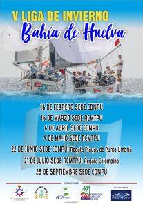 Cartel anunciador de la V Liga de Invierno de Cruceros Bahía de Huelva que comienza este sábado.