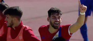 Israel Puerto celebra el gol que, a la postre, dio el triunfo al Recre. / Foto: Captura imagen TV @footters.