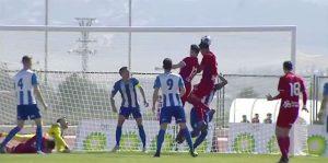 Momento del gol de Israel Puerto ante el Jumilla. / Foto: Captura imagen TV @footters.