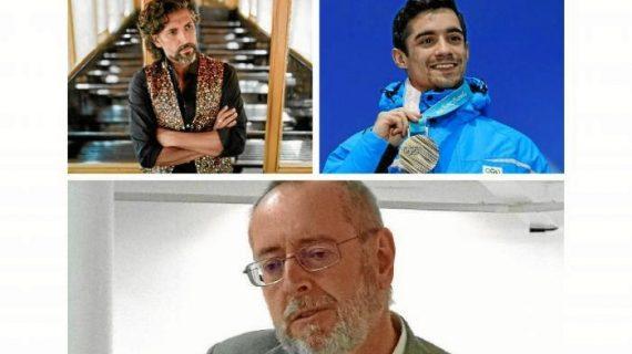 El cantaor Arcángel, el profesor Francisco M. Alonso Chaves y el campeón mundial de patinaje Javier Fernández, Medallas de la UHU