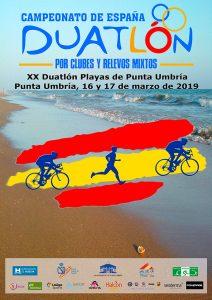 Cartel anunciador del Campeonato de España de Duatlón por Clubes y Relevos Mixtos en Punta Umbría.