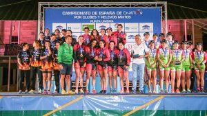 Podio de la Primera División Femenina en el Campeonato de España de Duatlón por Clubes 2019 celebrado en Punta Umbría.
