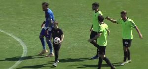 El Recre se impuso, no sin dificultades, al Almería B (1-2) en el estadio de Los Juegos del Mediterráneo. / Foto: Captura TV Footers.