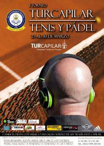 Cartel del torneo Turcapilar de tenis de pádel, que tiene como regalo estrella un implante capilar en Turquía.