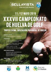 Cartel anunciador del XXXVII Campeonato de Huelva de Golf que se jugará en Bellavista los días 11 y 12 de mayo.