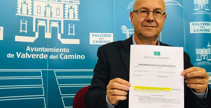 Valverde del Camino pone en marcha el Programa Social de Empleo y la Bolsa de Empleo de Ayuda a Domicilio 2019-20