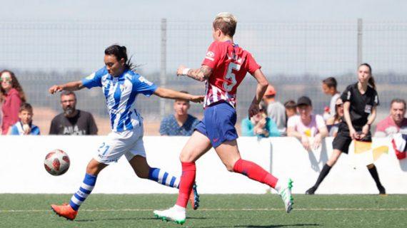El Sporting Puerto de Huelva se tiene que conformar con seguir fuera del descenso tras perder con el Atlético de Madrid (0-3)