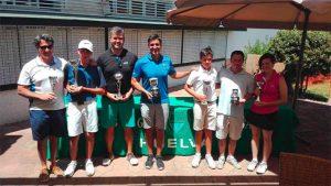 Los ganadores del XXXVII Campeonato de Huelva de Golf-Trofeo Diputación Provincial disputado en el Club Bellavista.