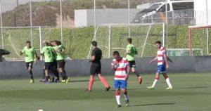 Los jugadores del Recre celebran el primer gol, obra de Tropi. / Foto: Captura imagen recre.org.