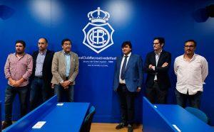 Un momento del acto de inauguración de la nueva sala de prensa del estadio Nuevo Colombino. / Foto: @recreoficial.
