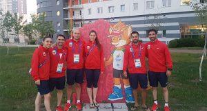 Componentes del equipo español de bádminton en los Juegos Europeos de Minsk.