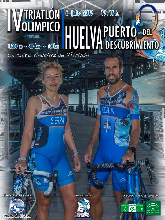 Cartel anunciador del triatlón que tendrá lugar en Huelva el próximo 6 de julio.