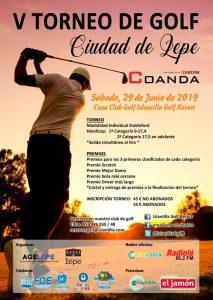 Cartel del torneo solidario de golf de este sábado en Islantilla.