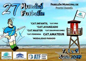 Cartel anunciador del 27º Mundial de Futbolín, que comienza este viernes en Punta Umbría.