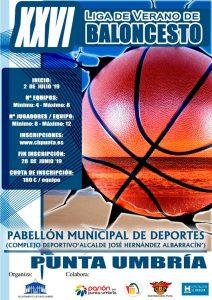 Cartel anunciador de la edición de este año de la Liga de Verano de Baloncesto en Punta Umbría.