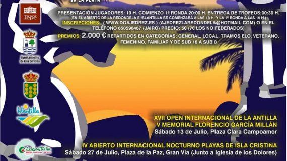 Arranca el IV Circuito Nocturno de Ajedrez en la Playa con el Open Internacional de La Antilla