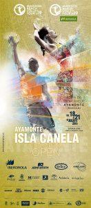 Cartel anunciador de la prueba de voley playa que va a tener lugar en Isla Canela.