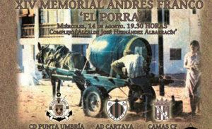 Cartel anunciador del XIV Memorial Andrés Franco 'El Porra', que se juega este miércoles en Punta Umbría.