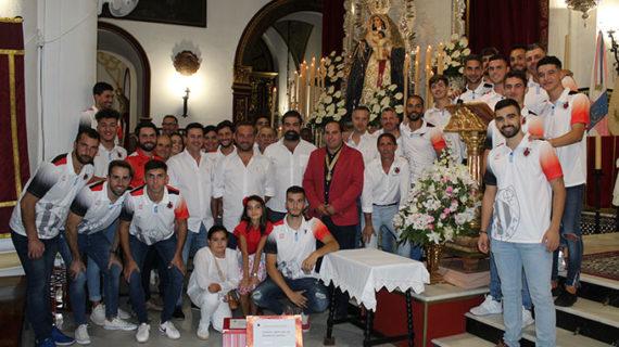 La AD Cartaya se presenta ante la Patrona de la localidad, Nuestra Señora del Rosario