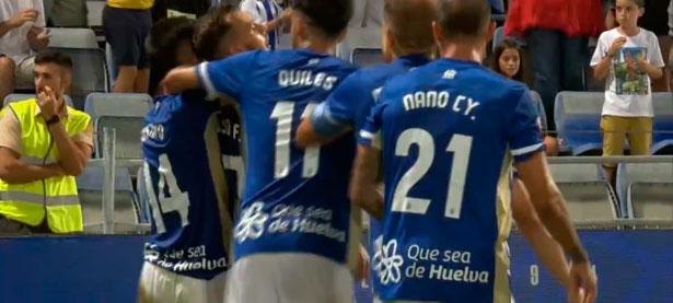 Los jugadores del Recre celebran uno de los goles del partido ante el Talavera. / Foto: Captura TV Teleonuba,