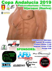 Cartel de la prueba de fisicoculturismo y fitness que se celebra en Aljaraque.