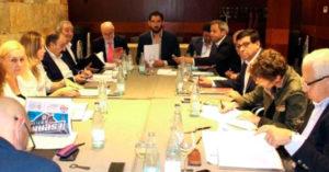 Un momento de la reunión de la Comisión Ejecutiva de la Federación Española de Baloncesto que designó a Huelva como sede del Nacional Junior Femenino.
