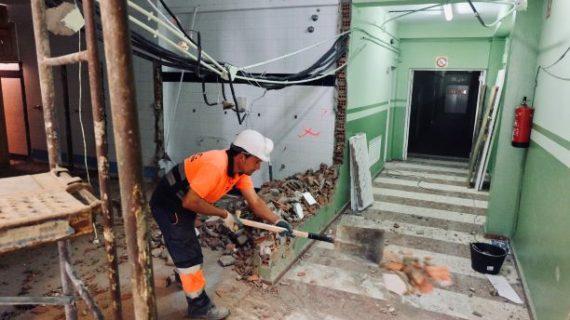 Se retoman las obras de modernización del Polideportivo Diego Lobato