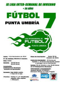 Cartel anunciador de la Liga de Invierno de Fútbol 7 en Punta Umbría.