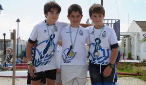 Ignacio García, Marcos Regordán y Pablo Pérez hicieron un pleno en el K-1 Benjamín.
