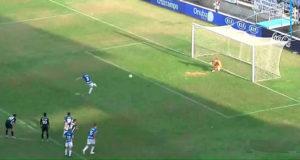 Momento del lanzamiento del penalti de Morcillo. / Foto: Captura imagen Footers.