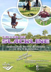 Cartel anunciador del Taller de Slackline que se pone en marcha en Islantilla.
