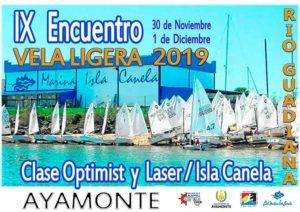 Cartel anunciador de la competición náutica que tendrá lugar este fin de semana en Isla Canela.