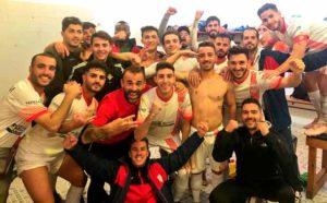 Los jugadores de La Palma celebraron en el vestuario el triunfo obtenido. / Foto: @LaPalmaCF.