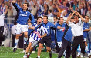 El 19 de mayo de 2002 el Recre ascendió por segunda vez en su historia a la Primera División.