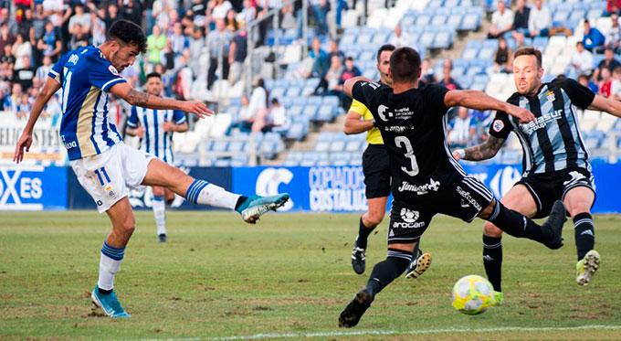 Encontrar de nuevo el gol, objetivo del Recreativo de Huelva en su partido de este domingo ante el filial nazarí. / Foto: @recreoficial / P. Sayago.
