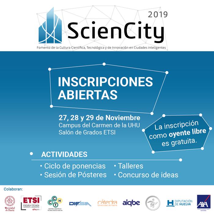 La Universidad de Huelva acogerá las jornadas 'ScienCity' sobre la transformación digital de las ciudades