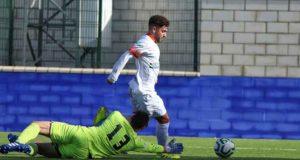 Carlos Lagares abrió el marcador para La Palma ante el Alcalá. / Foto: Antonio Alcalde.