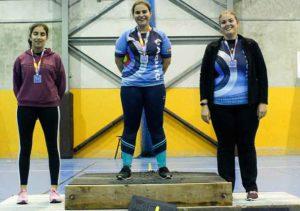Podio Senior femenino del Campeonato Provincial de Tiro con Arco en Sala.