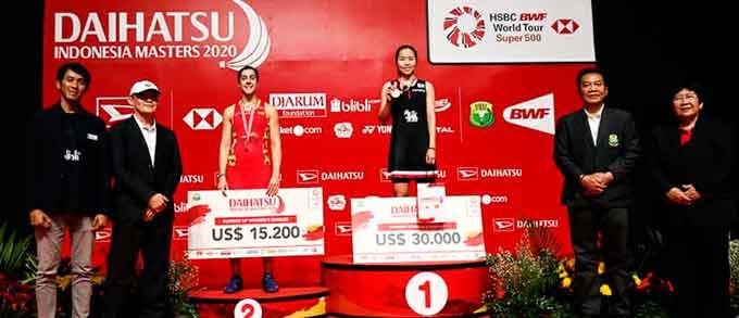 Carolina Marín cae en la final en su regreso al Masters de Indonesia tras su lesión