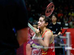 Carolina Marín venció a la nipona Okuhara y ya está en los cuartos de final en Indonesia. / Foto: Badminton Photo.