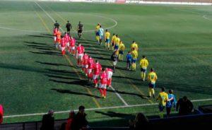 Prolegómenos del partido Tomares-La Palma, que concluyó 2-2. / Foto: @LaPalmaCF.