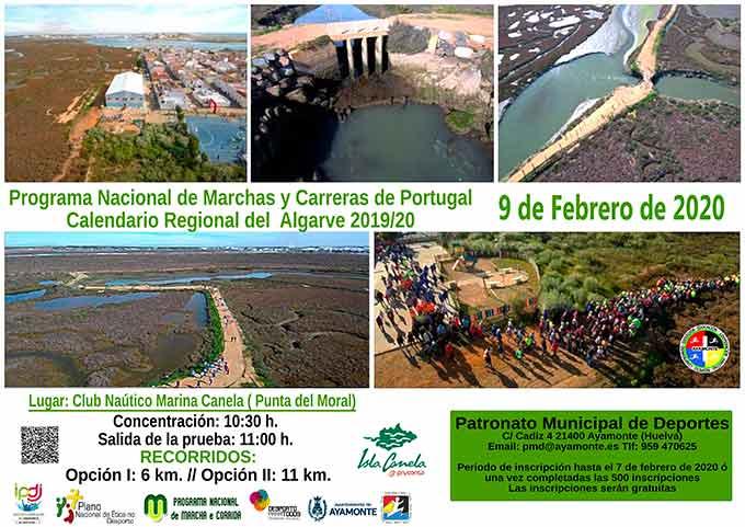 Cartel anunciador de la ruta de senderismo de este domingo por el entorno de Isla Canela.