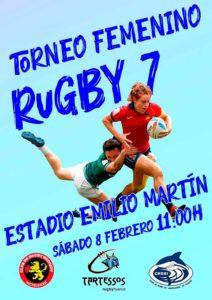 Cartel anunciador del torneo de rugby femenino que tendrá lugar este sábado en Huelva.