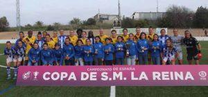 Los dos equipos con las componentes de la selección onubense Alevín femenina, campeona de Andalucía. / Foto: @sportinghuelva.