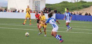 Las onubenses aguantaron el tipo en el primer tiempo. / Foto: @sportinghuelva.
