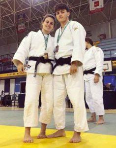Alba Rojas y Javier Pérez, deportistas del TSV Judo Huelva, cerca de lograr medalla en el Nacional Júnior. / Foto: @JudoHuelva1.