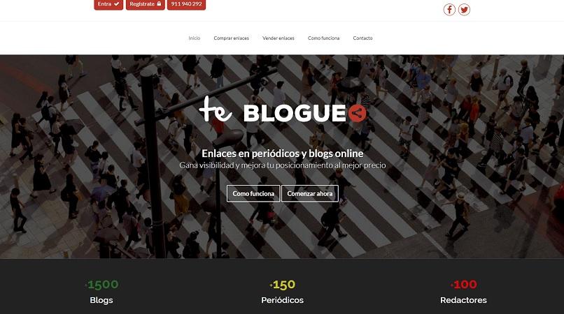 Página principal de la plataforma Te Blogueo.