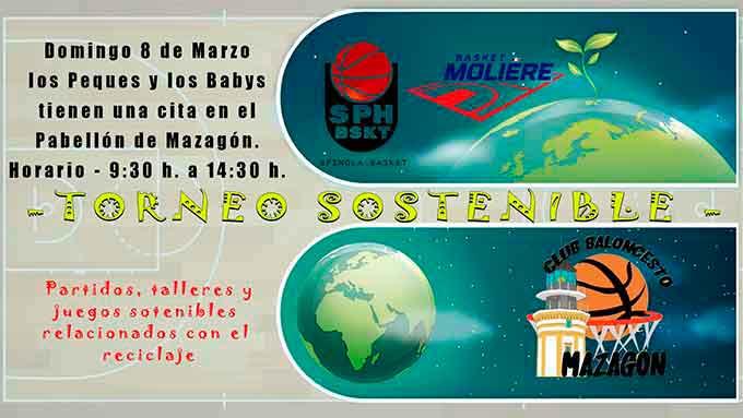Cartel del torneo de baloncesto que tiene lugar este domingo en Mazagón.