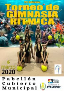 Cartel del torneo de gimnasia rítmica que tiene lugar este viernes en Ayamonte.