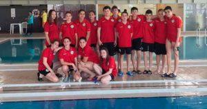 Componentes del CN Huelva en el Campeonato Regional Infantil de Invierno del Algarve de Natación.